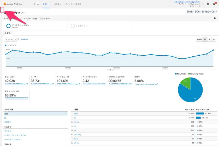 Googleアナリティクス:トップページ、サイドナビの表示方法について