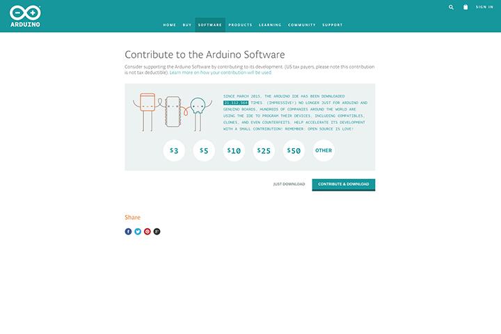 arduino IDE のダウンロード画面