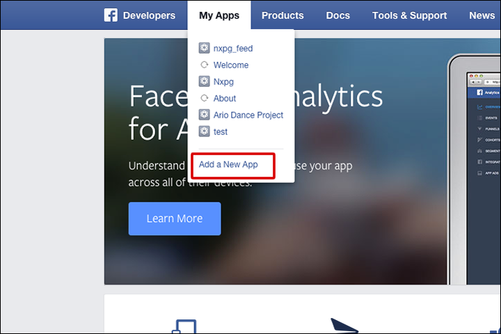 Facebook Developers - add new app