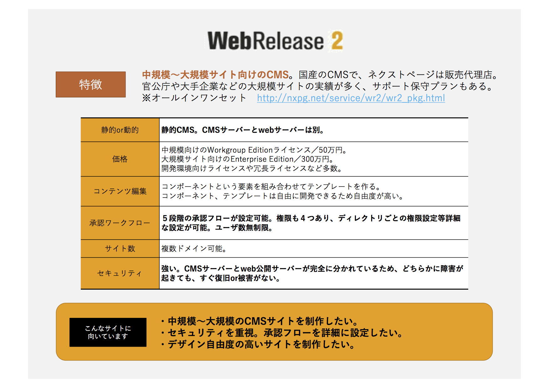 WebRelease2の特徴まとめ