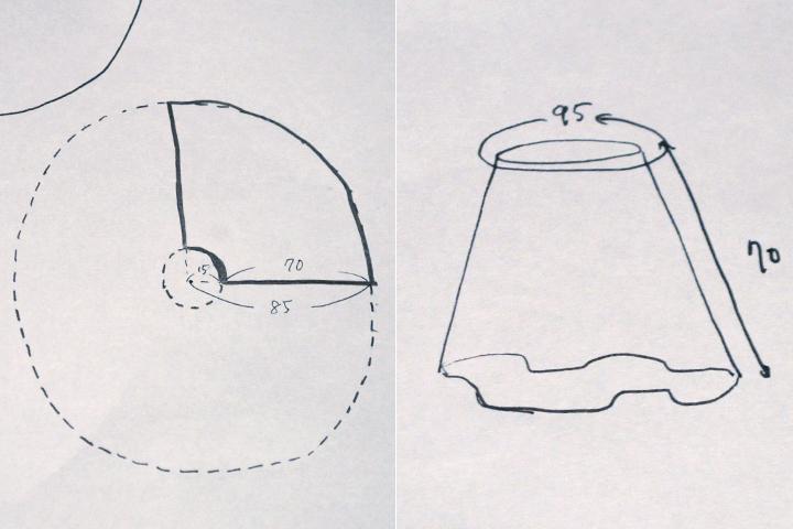 スカートと型紙の設計図